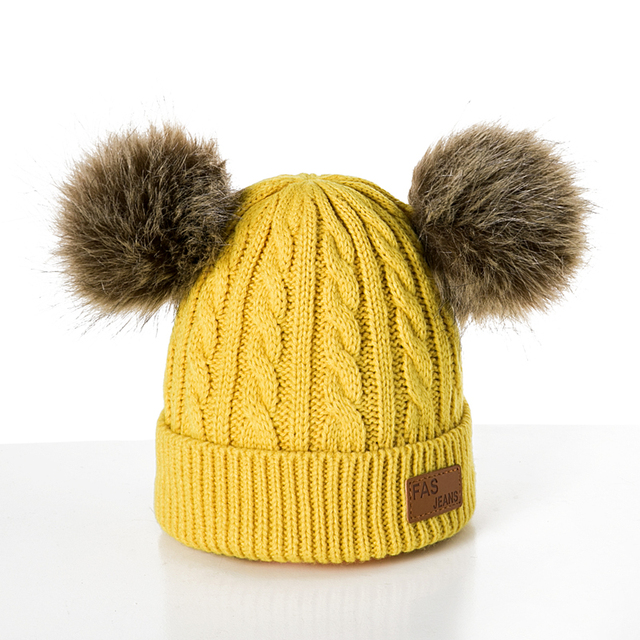 Winter Hat For Girls Baby Boys Pom Poms Hat Children Knitted Hats 2