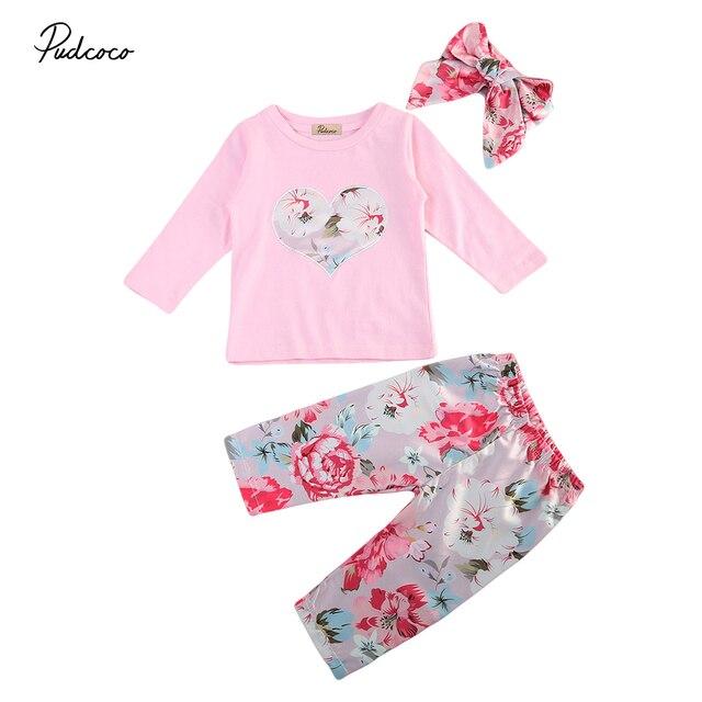 857cacdddd7 3Pcs Newborn Baby Girl Floral Romper Bodysuit Jumpsuit Long Pants Headband  Outfits Clothes Set