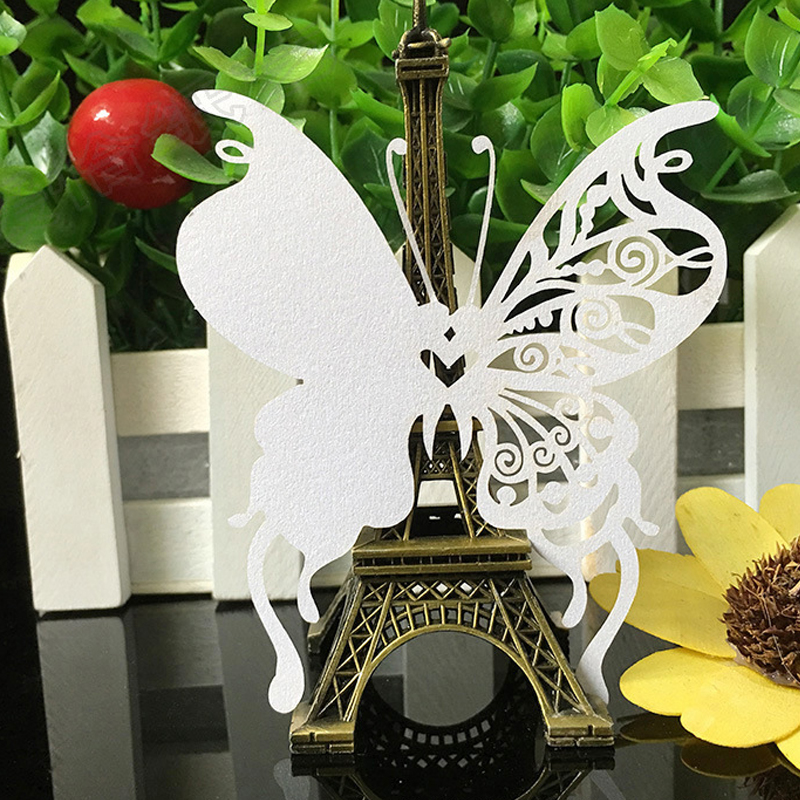 10Color 100pcs Laser Cut Butterfly Paper Place Card  Escort Card  Cup Card Wine Glass Card For Wedding Christmas Decor Favors