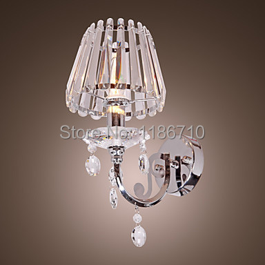 Contemporary Crystal Wall Light with 1 Light in Candle Feature bedroom wall lamp