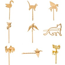 Birds Horse Swan Fox Deer Rabbit Animal Hair Clip and Pins Gold Plated Silver Plated Hairclips for Girls Women Headwear недорого