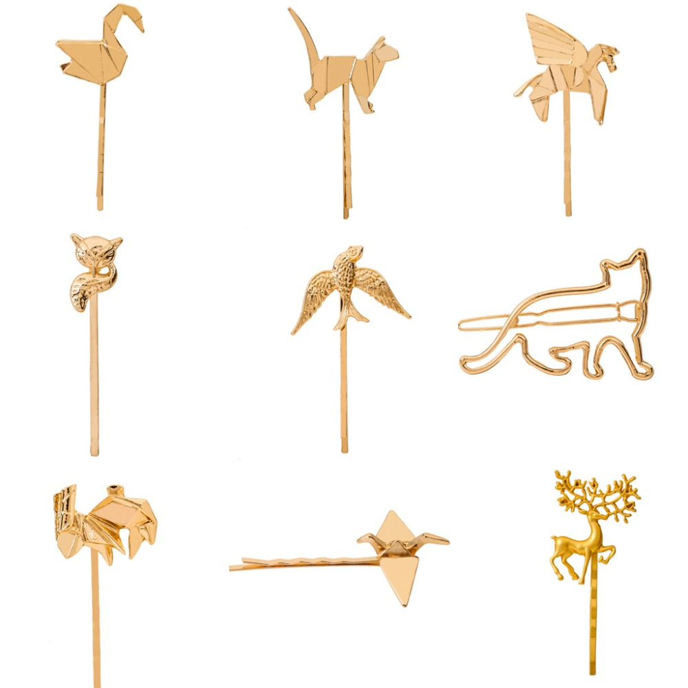 Birds Horse Swan Fox Deer Rabbit Animal Hair Clip and Pins Gold Plated Silver Plated Hairgrips  Women Headwear Hair Accessories