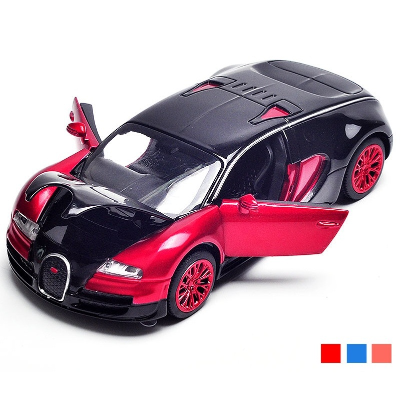 1:32 Diecast Bugatti Model Size 14Cm 3 Openable Doors W/ Light&Music Toy Car Good Quality 3 Colors ...