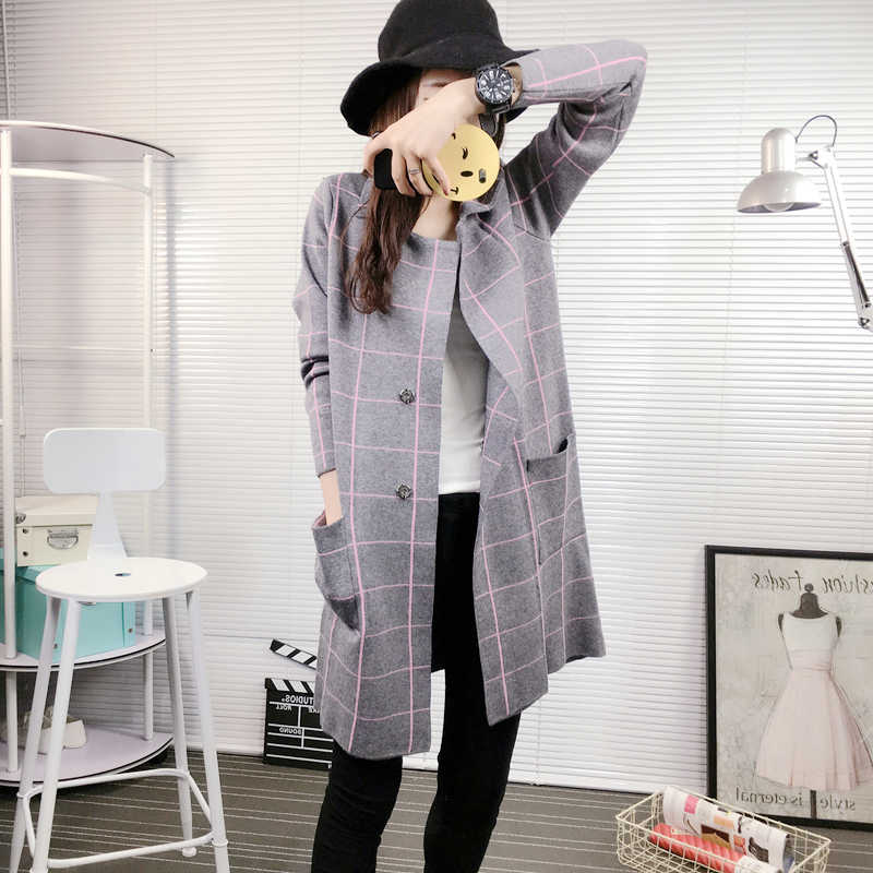 Women New Spring Autumn Winter Knitted Thick Medium Long Cardigan Pockets British Style Plaid font b