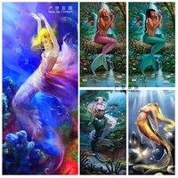 Diamond Mosaics Embroidery Sea Creatures DIY 5D Diamond Painting Mermaid Needlework Cross Stitch Full Rhinestones Painting