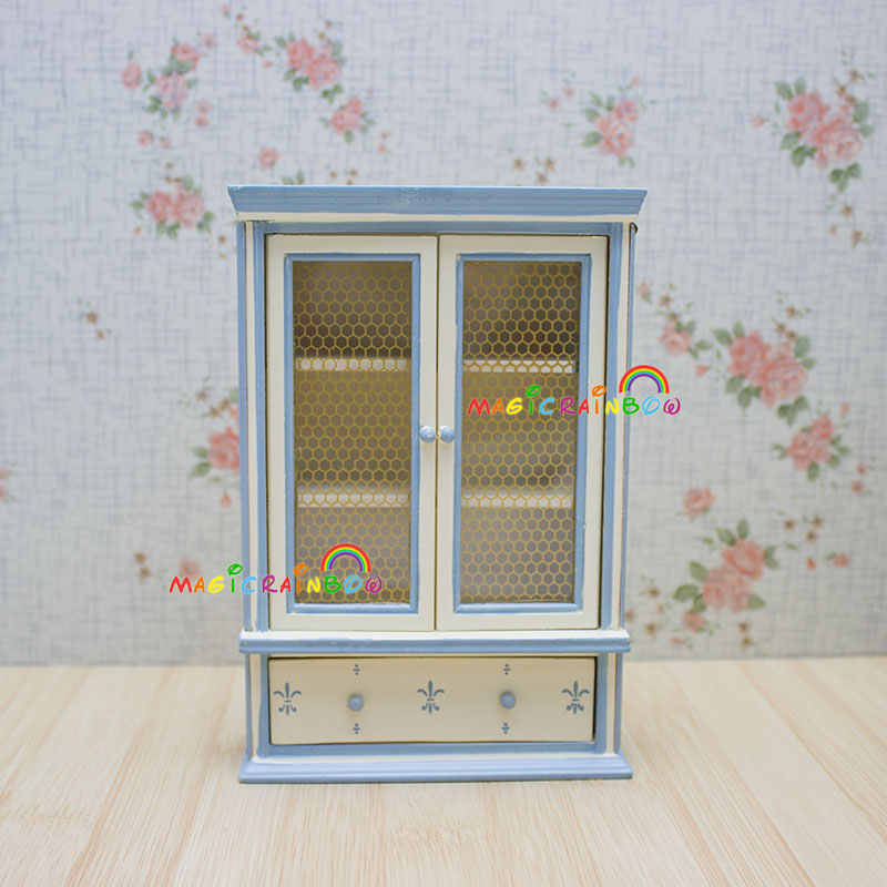 Dolls House Bedroom Furniture Wardrobe Armoire Cabinet Cupboard Chest of Drawer Wood Dollhouse Miniatures 1:12