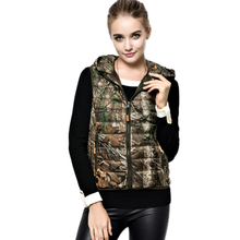 Autumn 2016 Down Coat Vest Women's Polyester Hooded  Sleeveless Sweater Print Camouflage Slim Casual Plus Size 3xl Veste Femme