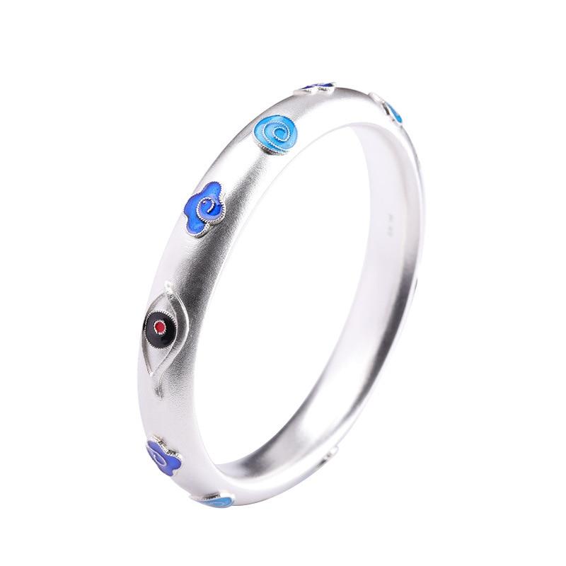 Offre spéciale Élégant Marque Chanceux Nuage Argent Bracelet Bracelet En Argent Réel Limitée Lady S999 de Pur Argent Bracelet
