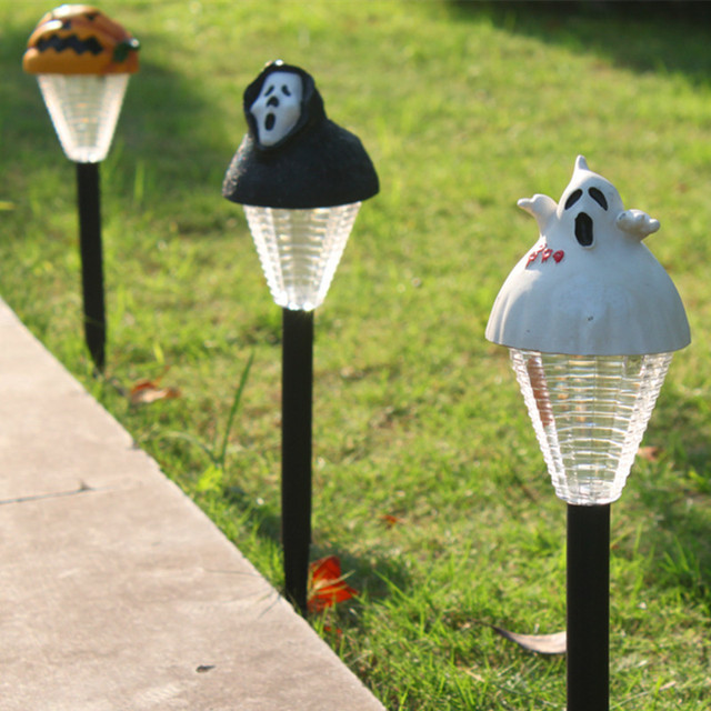 1x New Mini Solar Lawn Light Lamp Decorative Garden Lamps Yellow Pumpkin Black Ghost White Lights