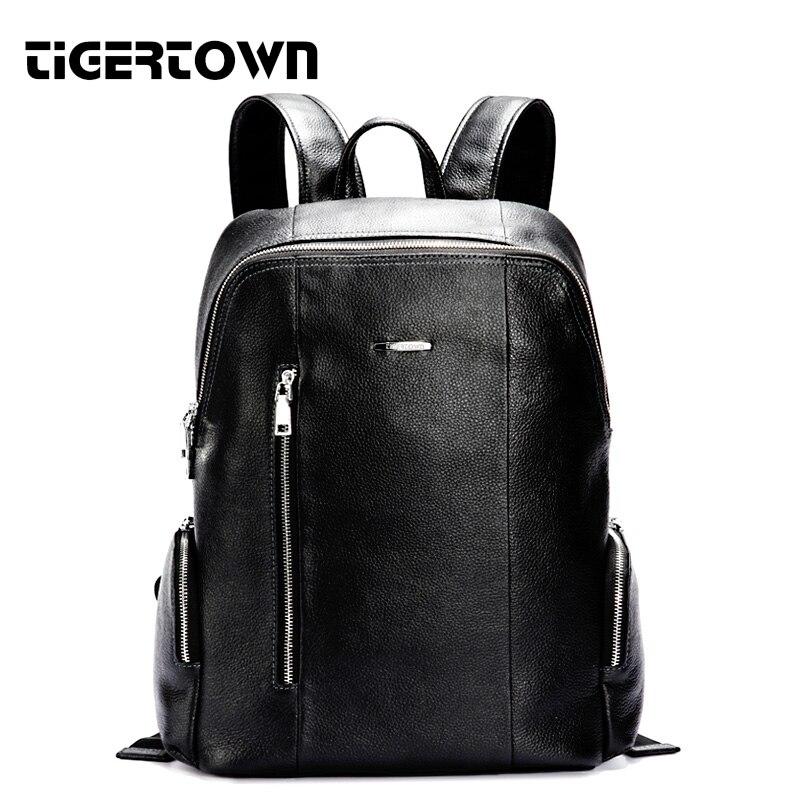 TigerTown 2019 Brand New Fashion Men'S Genuine Cowhide Leather Backpack Laptop Cartable Travel Bags School Waterproof Messenger