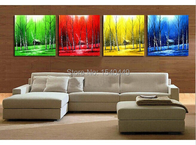 Handmade 4 Piece Modern Canvas Wall Art Picture Abstract 4 Season Trees Oil Painting On Canvas For Living Room Home Decor 408 Oil Painting Paper Oil Paintings Cheappainting Oils Aliexpress