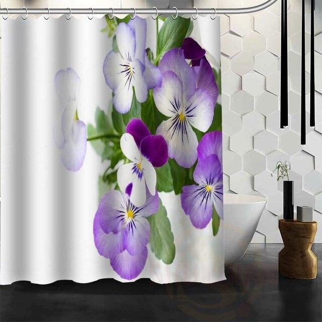Best Nice Custom Viola tricolor L Flower Shower Curtain Bath Curtain ...
