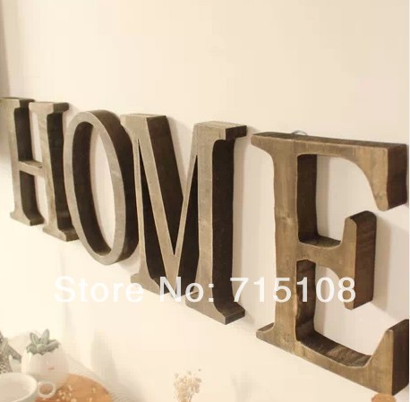 Ev ve Bahçe'ten Heykelcikler ve Minyatürler'de Vintage Ahşap Mektubu Ücretsiz Ayakta Büyük Boy 23 cm Yükseklik Ev Dekor Duvar Mefruşat ürünleri İngilizce Harfler 4 adet/grup'da  Grup 1