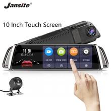 Jansite 10 дюймов 1080P Автомобильная dvr камера заднего вида с сенсорным экраном Dash cam камера Супер ночного видения видеорегистраторы заднего вида с двойным объективом зеркало