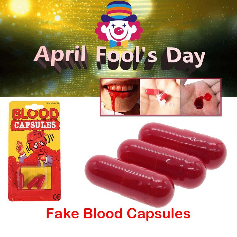 Non-Toxic Capsule Red April Fool Joke Blood Capsules Fake Capsules Cheap Halloween Joke Toy Safe Friend Magic