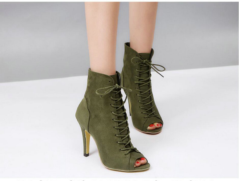 Women's Boots' Women Lace-Up Black Ankle Boots Women High Heels Pointed Toe Ankle Boots For Womens Plus Size Shoes Woman Boot    (8)