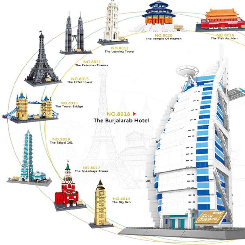 Chaude monde célèbre Architecture Tour Penchée de Pise italie modèle de bloc de construction briques jouets éducatifs collection pour enfants