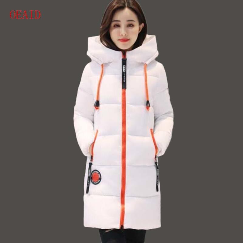96208c7d700 OEAID модные зимние женские пальто армейский зеленый 2018 зимнее пальто  Женская парка Длинная Верхняя одежда толстая парка женские куртки и пальто  черный ...