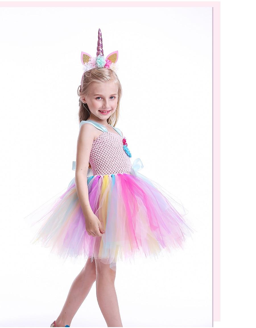 Kids Girls Unicorn Tutu Dress with Headband Knee-Length Pastel Rainbow Flower Girl Dress Kids Halloween Pageant Party Costume (8)