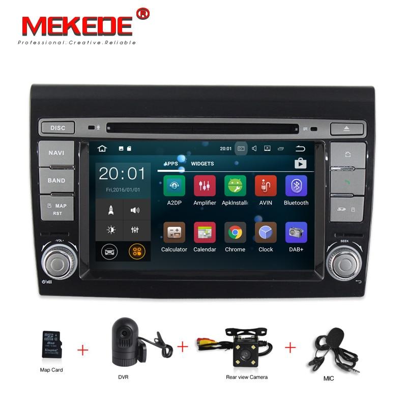 Quad Core 1024*600 2G RAM Android 7.1 Voiture DVD GPS Navigation Lecteur De Voiture Stéréo pour Fiat Bravo (2007-2012) Radio Wifi BT + 8G carte