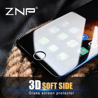 ZNP 3D Round Curved Edge Tempered Glass For iPhone 6 6s 7 Plus Full Cover Protective Premium Screen Protector Film Safety Case
