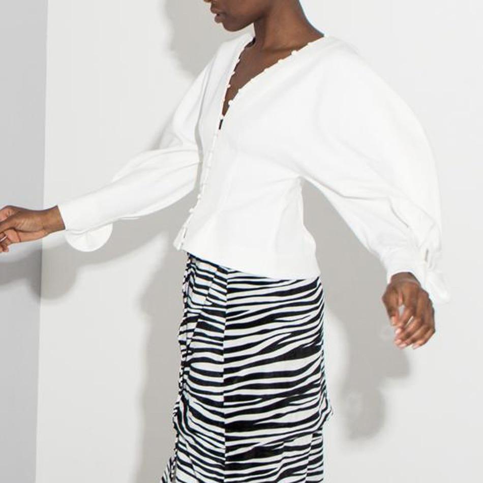 Blanc Venir Longues À Solide V Top Embelli Volants Cou Bouton Crop Style Cour Puff Ruché Trendy Manches Nouveau ZAOx1qw