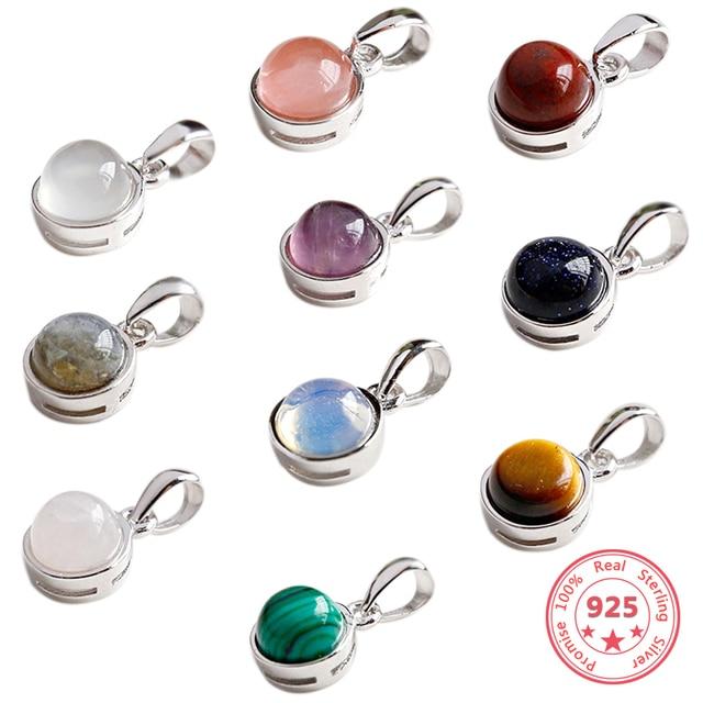 Hot Sale 100% 925 Sterling Silver Customizable Natural Malachite Labradorite Crystal Agate Opal Tigereye Gem Pendants Jewelry 1