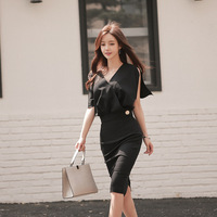 2 Piece Set Women S Skirts And Tops 2017 Summer Cotton Blend Blouse Black Suits Set