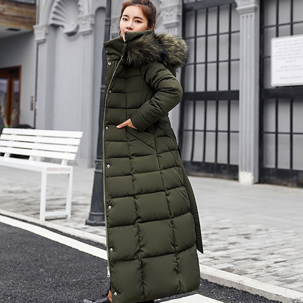 Women Winter Long   Down     Coat   Thickening Casual Jacket Warm Cotton-padded With Hat Hooded Long Sleeve