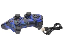 Kabi Bluetooth Wi-fi Sport Romote Controller Joysticks with Twin Vibration for PS3 PlayStation Three Controller Stripe Blue