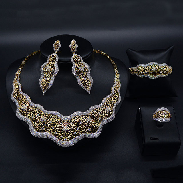 GODKI Luxury Nigerian Jewelry sets For Women Cubic Zircon BOWKNOT Wedding Blossom Flowers Silver Indian bridal jewelry sets 2018