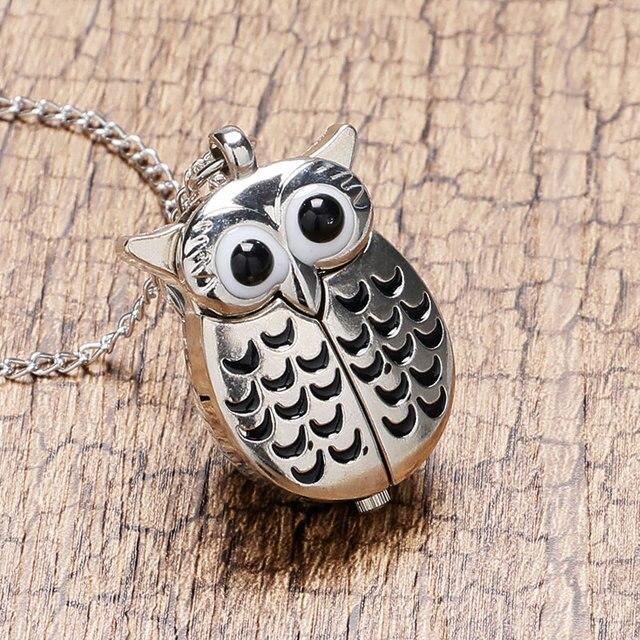 Cartoon Cute Silver Vintage Night Owl Necklace Pendant Quartz Pocket Watch Necklace