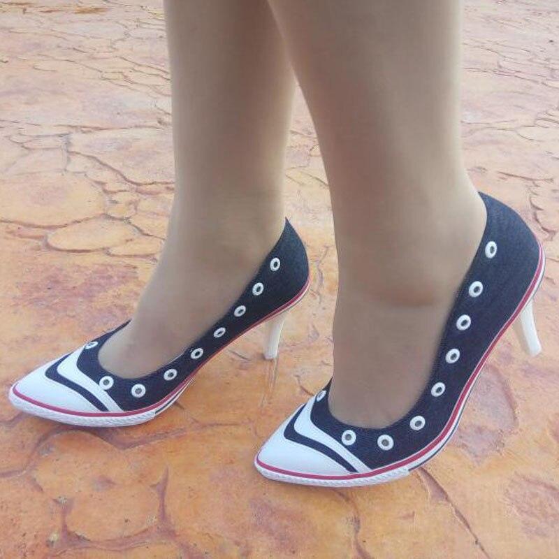 Dames Occasionnels Bouche Peu Profonde Slip-sur Denim Toile Pompes Chaussures Sexy Bout Pointu Talons Minces Talons hauts Femmes Chaussures nouveau Campus Chaussures