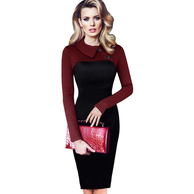 97de3c69 Womens Vintage Houndstooth Colorblock Lapel Long Sleeve Wear to Work  Business Casual Office Party Bodycon Dress 1426