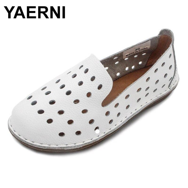 YAERNI Women s Shoes Hand made Genuine Leather Flats Plain Toe Slip on ladies Flat Shoes