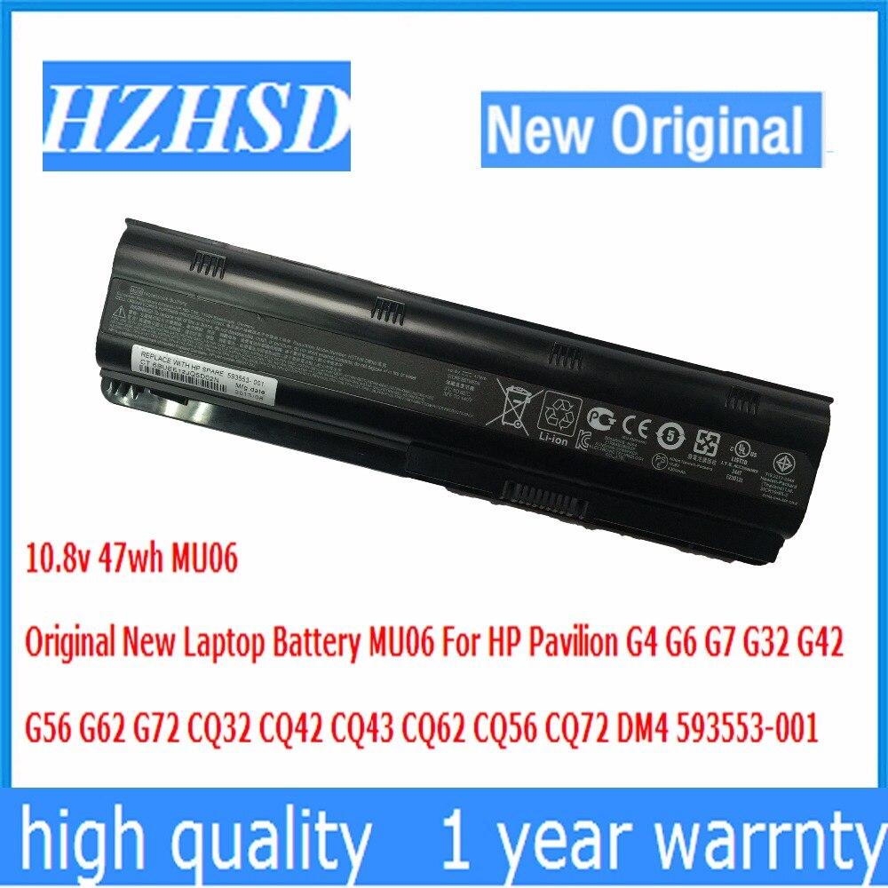 10,8 В 47wh Оригинальный Новый аккумулятор для ноутбука MU06 для HP Pavilion G4 G6 G7 G32 G42 G56 G62 G72 CQ32 CQ42 CQ43 CQ62 CQ56 CQ72 DM4