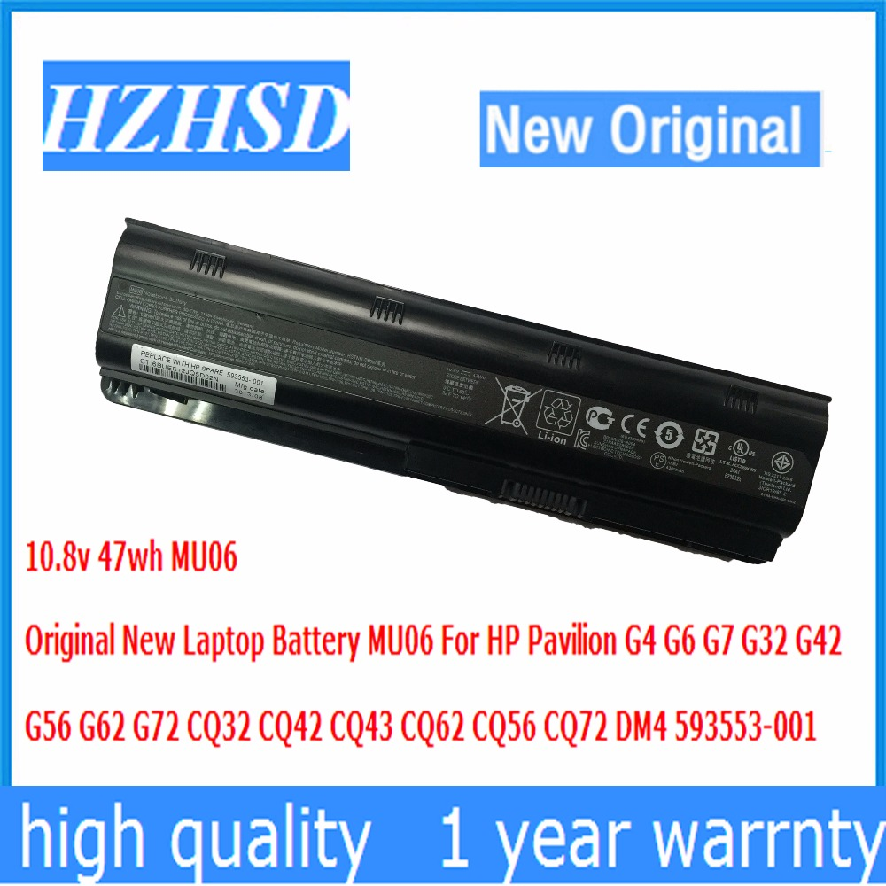 10.8 v 47wh D'origine Nouvel Ordinateur Portable Batterie MU06 Pour HP Pavilion G4 G6 G7 G32 G42 G56 G62 G72 CQ32 CQ42 CQ43 CQ56 CQ62 CQ72 DM4