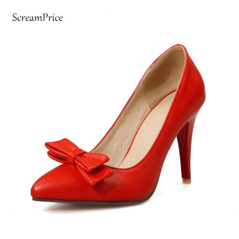 Chaussures Talons Rouge Sexy De blanc Femmes Glissent Minces Blanc Partie Sur Rouge Pompes Dames Bout Robe Hauts Arc Noeud Noir Pointu xR66YIT