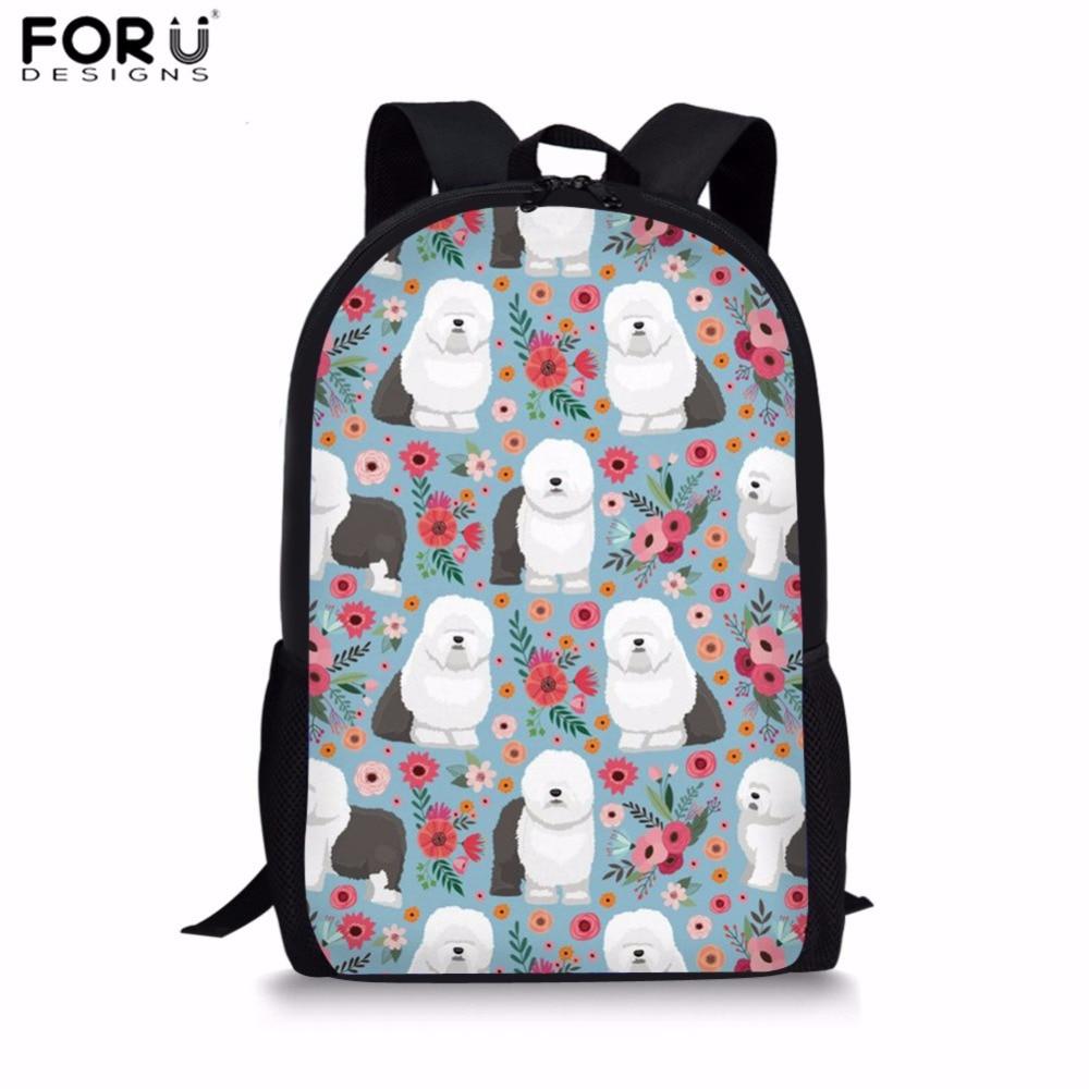 FORUDESIGNS Preppy School Bags Sheep Dog Design for Girls Cute Shoulder Backpack Primary Students Schoolbag Kids Large Satchel