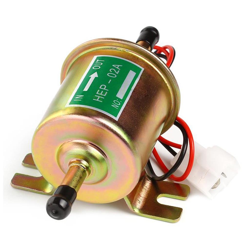 Universal 12V Bomba de combustible eléctrica Perno de baja presión Cable de fijación Diesel Gasolina Gasolina HEP-02A Para carburador de coche Motocicleta ATV