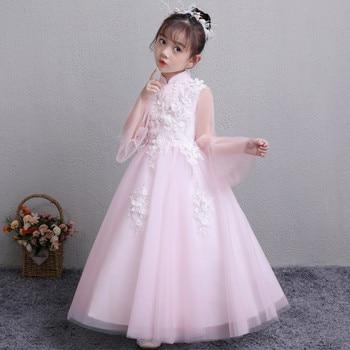 2019autumn&Spring new children girls birthday party princess lace dress kids baby pink long sleevespuff catwalk wedding Dress