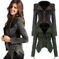 Fanala poder studded shoulder entalhado lapela das mulheres jaqueta jeans plus size denim jeans smoking jacket casacos casaco azul preto m1420
