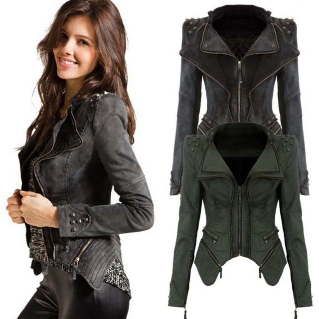 Fanala poder tachonado con muesca solapa de la chaqueta de mezclilla de las mujeres más el tamaño denim jeans tuxedo jacket coat chaquetas azul negro m1420