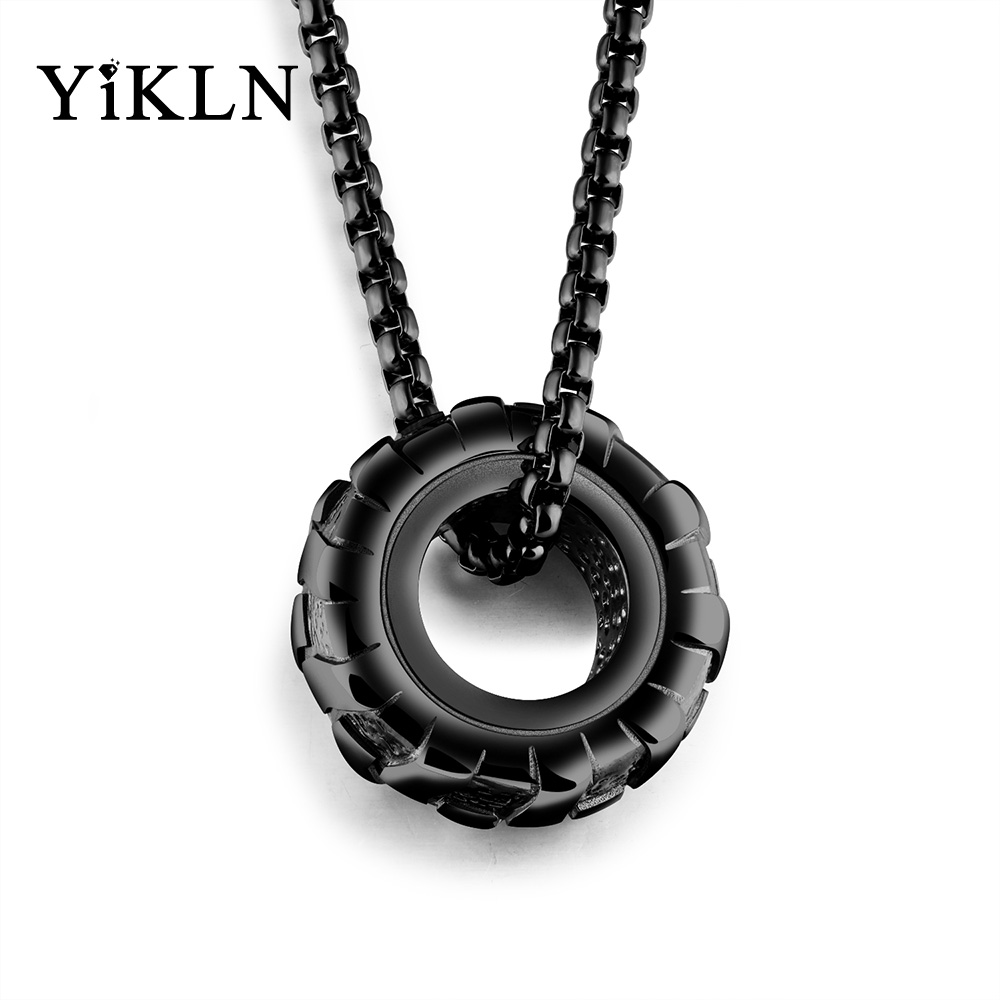 YiKLN Personality Wheel Round Design Pendant Necklaces Trendy Titanium Steel Sports Men Jewelry Powerful Accessories OGX1169
