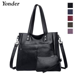 Image 2 - Yonder brand women bag genuine leather handbag ladies large tote bag high quality Sheepskin leather shoulder bag female Red Wine