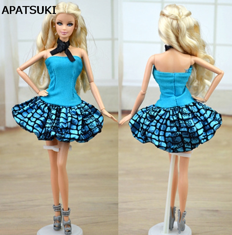 Doll Accessories Blue Clothes For Barbie Doll House Dress Party Gown Summer Short Dresses Vestidos for Barbie Doll famosa doll clothes 36cm nenuco original doll accessories doll clothes for 40cm sharon doll