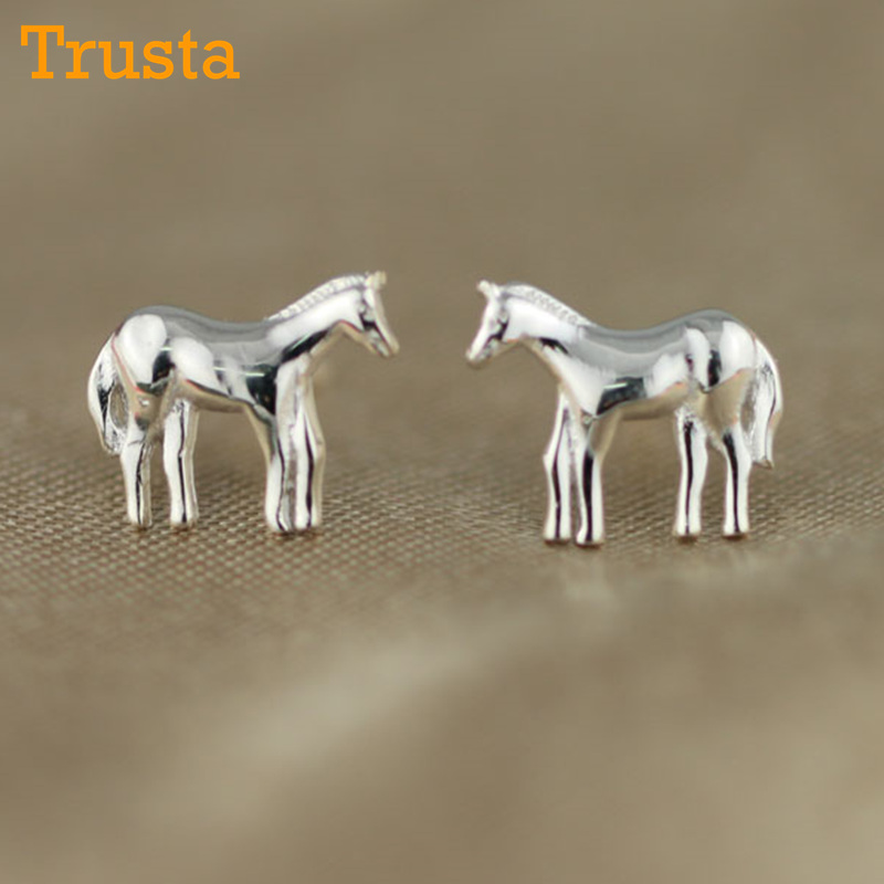 Trusta Drop 100% 925 Sterling Solid Silver Jewelry Womens Fashion Tiny Cute Animal Stud Earrings Girls birthday Gift DS91