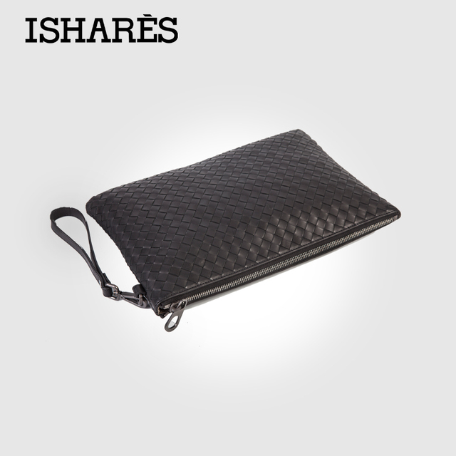 ISHARES Brand new men genuine leather casual woven zipper clutches cowhide leather weave handbag for male 30*20*1cm IS5009