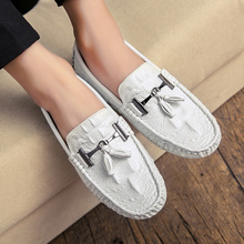 Loafers White Men Loafer Split Leather Mens Casual Shoes Luxury Brand Light Soft