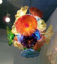 Modern Flower Chandelier Light  Style Murano Glass Plates Lamps Multi-Color LED Blown Lighting